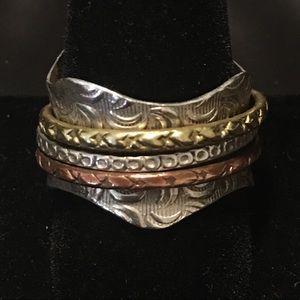 Sterling Silver w/Brass & Copper Spinner Ring